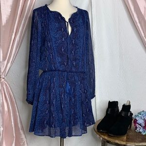 Banana republic blue snakeskin print dress